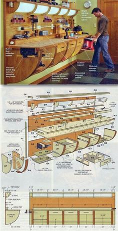 Wall Hung Workbench Plan - Workshop Solutions Projects, Tips and Tricks - Woodwork, Woodworking, Woodworking Plans, Woodworking Projects Woodworking Projects Diy, Woodworking Bench, Wood Projects, Workshop Storage, Workshop Organization, Garage Atelier, Working Wall, Wood Working, Design Garage