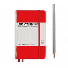 Notebook Pocket (A6) Hardcover, 185 numbered pages, dotted, red