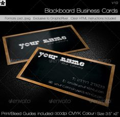 Buy Blackboard Business Card by DarkstarDesigns on GraphicRiver. This Blackboard business card has been designed as you guessed it to be both minimal, clean, crisp and uncluttered, . Minimal Business Card, Elegant Business Cards, Business Card Design, Creative Business, Plastic Business Cards, Blackboards, Print Templates, Design Agency, Custom Logos