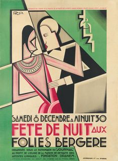 Fete de Nuit (Night Party, poster illustration for the Folies Bergère by Maurice Picaud aka Pico (French), 1927 Art Deco Print, Art Deco Design, Art Nouveau, Folies Bergeres, Art Deco Posters, Maurice, Flappers, Vintage Travel Posters, First Night