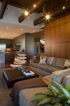 double horizontal pattern repeats in wood and stone.  Nice touch!  from houzz.com  jamesthomas, LLC - contemporary - living room - other metro - jamesthomas, LLC
