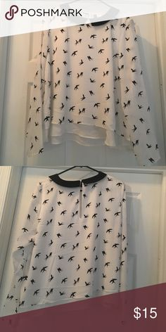 White Bird Printed Peter Pan Long Sleeve Blouse White bird printed peter pan collar long sleeve blouse. Never been worn. Will steam the wrinkles out when purchased - although they might come back once in folded and placed in box Divided Tops Blouses