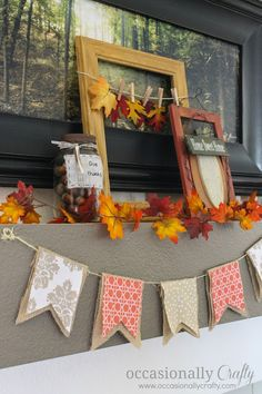 Simple Fall Mantel with No-Sew Fabric and Burlap Bunting