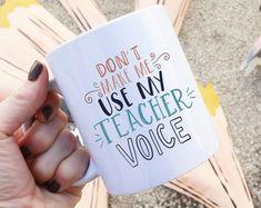 Don't Make Me Use My Teacher Voice Ilustrated Ceramic Plastic Travel Mug Drink Cup