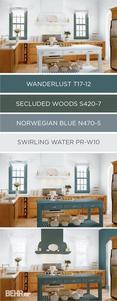 Check out BEHR's collection of color currents for 2017. These modern shades can be used in a variety of different ways and color combinations. This rustic kitchen uses the dark blue gray of Wanderlust to complement the natural wood cabinets and bright white walls. For even more DIY design inspiration, click here.