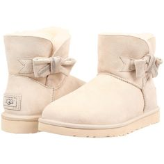 UGG Jackee Women's Boots, Beige ($168) ❤ liked on Polyvore featuring shoes, boots, beige, beige shoes, bow boots, small heel boots, patent leather shoes and patent shoes