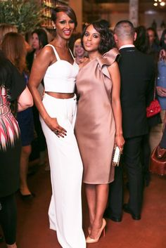 The Week in Style: Iman Abdulmajid and Kerry Washington at a party celebrating Washington's June 2013 Elle cover in New York. @ELLE Magazine (US)