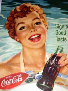 Original * COCA-COLA * COKE * July August 1958 CALENDAR * Summer Bathing Beauty