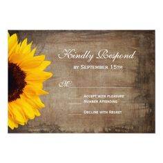 Rustic Country Sunflower Wedding RSVP Cards