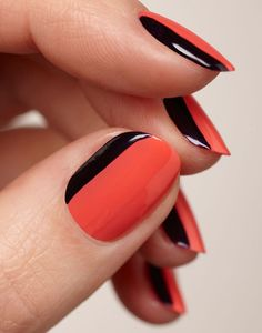 Love this... could do an accent nail w/ a silver or gold stripe instead Asymmetric