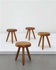 Three-legged stools, designed for l'Equipement de la Maison series, Manufactured by BCB, France. Designed by Charlotte Perriand, 1949