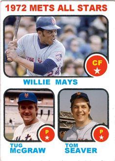 1973 Topps New York Mets All Stars, Willie Mays, Tug McGraw, Tom Seaver, Baseball Cards That Never Were.