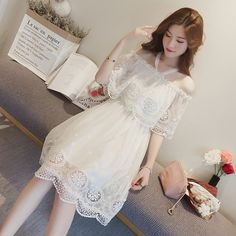 Korean fashion(&Japanese) white collar flowers elastic dress - Her Crochet Fashion Wear, Cute Fashion, Star Fashion, Girl Fashion, Fashion Dresses, Pretty Dresses, Beautiful Dresses, Edgy Outfits, Cute Outfits