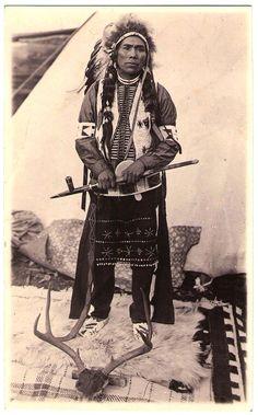 COEUR D'ALÈNE Chief, 1920's.  Real Photo Postcard edited c.1918-1930.