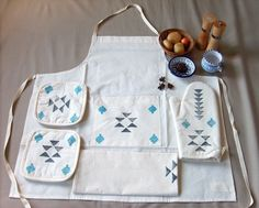 Gray & Turquoise Tribal Kitchen Apron FREE-Shipping by Yaansoon