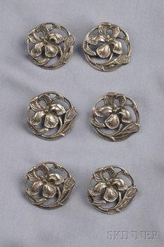 Six Art Nouveau Sterling Silver Buttons, Deakin & Francis, Birmingham, each depicting an iris, lg. 1 in., British hallmarks, boxed.