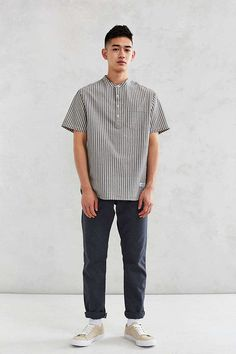 CPO Seersucker Popover Band Collar Short-Sleeve Shirt - Urban Outfitters