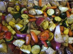 Oven-Roasted Vegetables - zucchini, sweet potatoes, red onion, summer squash, carrots, button mushrooms