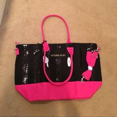 "FINAL PRICE NWT Victoria's Secret weekend tote This is from Black Friday 2013. Never used, only taken out of the bag for pics. Everything still attached. Limited edition bag. Black sequin stripe detailing. Great for a weekend overnight or carry on! 22.5""x14""x7.5"", perfect size for a weekend trip or carry on. Final price on posh due to fees. Cheaper on M e r c Victoria's Secret Bags Totes"