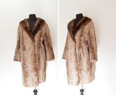 Vintage 1950s Fur Coat - Light Brown Curly Persian Lamb & Mink Swing Coat German - Medium