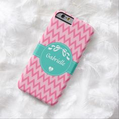Personalize by adding your name to this girly two tone pink zigzag chevron pattern slim #iPhone6case with a cute stitched mint green circle stripe decorated with a stylish white bow and a heart with a chic sailors anchor inside. Perfect design for the teen girl.