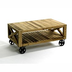 Love that it's mobile and made from reclaimed wood and iron #HudsonGoods #CoffeeTable