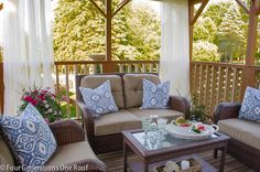 DIY decorating: Our summer covered porch makeover {before & after} @Four Generations One Roof