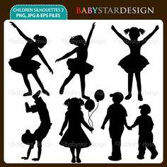 Children Silhouettes 3  Clipart Set INSTANT by babystardesign, $5.95