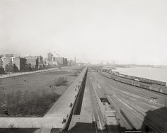 Lake Front from Illinois Central Station, Chicago, c1895, Vintage Photo