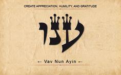 63 ANU: AYIN NUN YOD: Crear agradecimiento, humildad y gratitud. Escanear de derecha a izquierda.