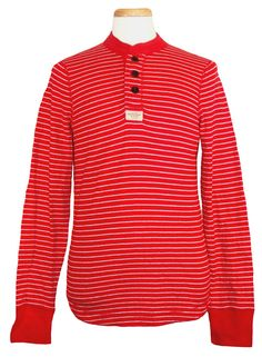 Abercrombie & Fitch Mens Henley Shirt MOUNT MARSHALL Long Sleeve Red L NEW $68 #AbercrombieFitch #Henley