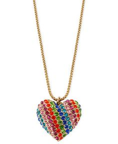 Betsey Johnson Necklace, Gold-Tone Glass Crystal Rainbow Heart Pendant