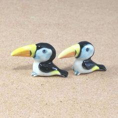 HORNBILL Miniature Birds Animal  Ceramic Figurine Statue Decor Collectibles Gift