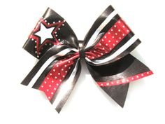 Custom Red Black and Silver Rhinestone Elite Star Cheer Bow Soccer Hair Bows, Cheerleading Hair Bows, Softball Bows, Cheer Bows, Glitter Hair, Sparkles Glitter, Girl Hair Bows, Girls Bows, Ribbon Flip Flops