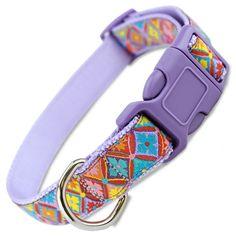 Spring Kaleidoscope Dog Collar, a beautiful dog collar for Easter or Spring Plaid Dog Collars, Puppy Collars, Thing 1, Collar Designs, Dog Id Tags, Blue Dog, Girl And Dog, Purple, Spring