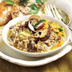 Slow Cooker Risotto - Wheat berries add a good-for-you spin to this mushrooms, rice, and Asiago cheese side-dish recipe.