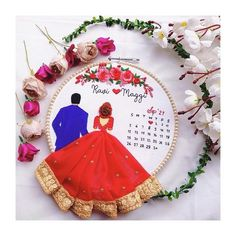 Wedding Embroidery, Embroidery Hoop Art, Beaded Embroidery, Hand Embroidery Patterns Flowers, Hand Embroidery Designs, Embroidery Ideas, Red Wedding, Wedding Card, Puppet Crafts
