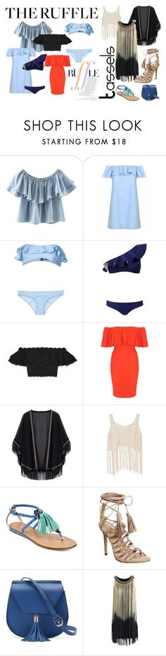 """""""Untitled #261"""" by mela-burgic ❤ liked on Polyvore featuring WithChic, Lisa Marie Fernandez, Alexander McQueen, Jane Norman, Barneys New York, GUESS, Office, Yoki, Chicwish and ruffles"""