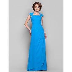 [XmasSale]Sheath/Column Cowl Queen Anne Floor-length Chiffon Mother of the Bride Dress – USD $ 89.99