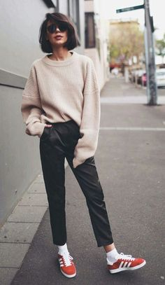 suede gazelle trainers. oversized jumper.black trousers. #streetstyle