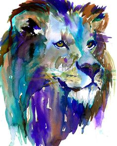 The King by Jessica Buhman, Print of Original Watercolor Painting, 8 x 10 Lion Lioness Blue Green Purple Brown Yellow Safari