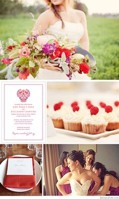 Wedding Inspiration: Plum and Scarlet  Maybe we'd want a darker purple though?