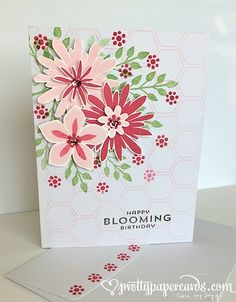 features Stampin Up's Flower Patch stamp set and coordinating Flower Fair framelits; Pretty Paper Cards