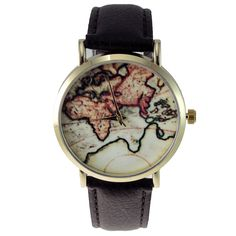 World map watch map watch leather and vintage gumiabroncs Choice Image