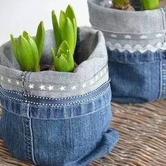 take your old jeans and make a plant pot out of it. #jean #countryliving #countrystyle #flowerpot-By SuperiorCustomLinens.com