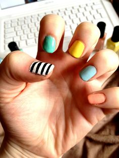 pastel nails, stripy nails, what do you think?