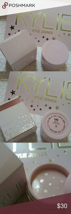 Kylie Cosmetics - KING Ultra Glow - Birthday Brand new and never used. The inner seal on the jar is still in place and has never been touched. Not looking to trade or swap. Price is firm.   Ordered directly from Kylie website. See fourth photo. Will only come with ultra glow and its box, not the Kylie card because I only have one and I prefer to keep it. Kylie Cosmetics Makeup Face Powder