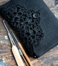 Linen Crochet Hook Case - Holder - Organizer -- black