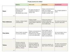 Rúbrica para la evaluación práctica en voleibol | departamento de educación física