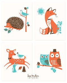 Woodland Forest Friends Nursery art for by SeaUrchinStudio